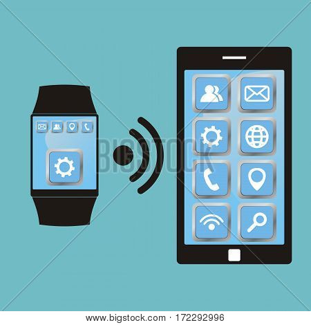 Synchronization between smart watch and smart phone. Smartwatch and smartphone communication. Vector illustration