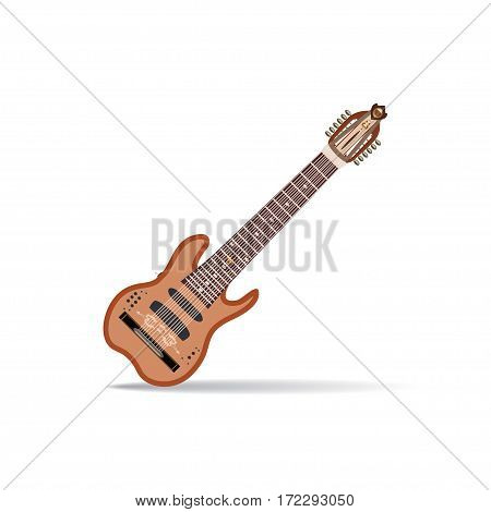 Vector illustration of Warr guitar isolated on white background. Flat style design.
