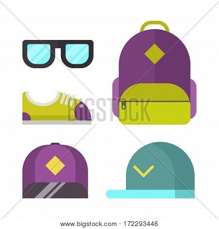 Kids school bag isolated on white background. Cartoon style backpack handle strap sack, textile rucksack equipment. Educational and fashion accessory icons vector.
