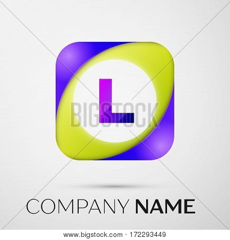 Letter L vector logo symbol in the colorful square on grey background. Vector template for your design