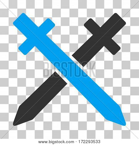 Crossing Swords vector pictograph. Illustration style is flat iconic bicolor blue and gray symbol on a transparent background.