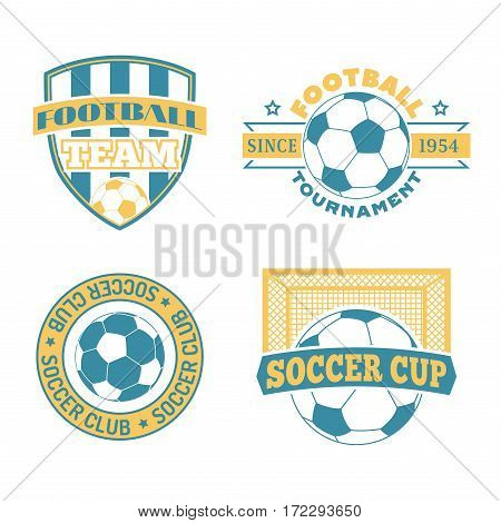 Set of european football, soccer labels, emblems and design championship elements. Vector logo tournament icon symbol. Team badge sport competition.