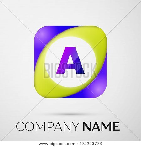 Letter A vector logo symbol in the colorful square on grey background. Vector template for your design