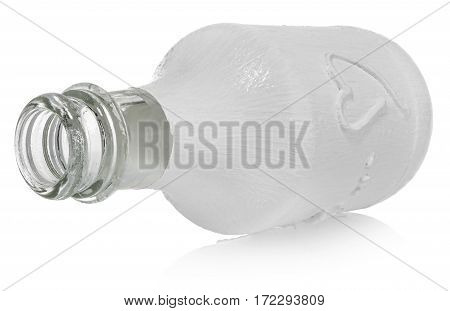 Painted white empty bottle with heart. Dish on a white background with slight reflection.
