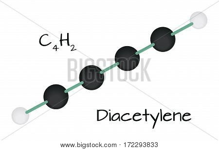 molecule C4H2 Diacetylene isolated on white in vector