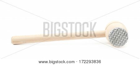 Meat tenderizer wooden hammer isolated over the white background