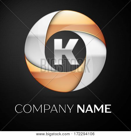 Letter K vector logo symbol in the colorful circle on black background. Vector template for your design