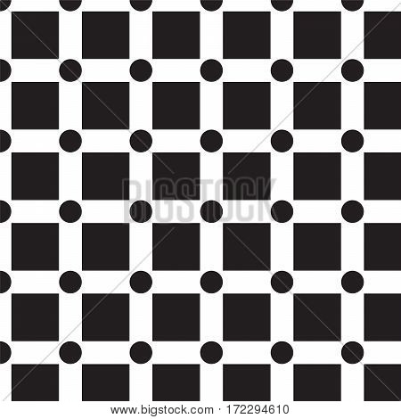 black squares with black circle in corner pattern background vector illustration image