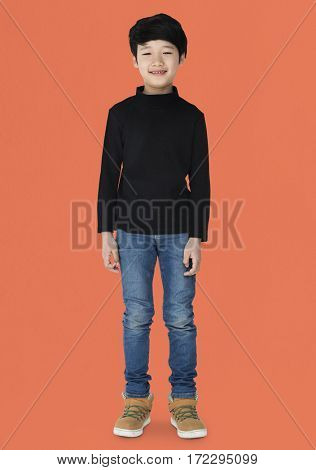 Young kid boy full body standing smiling isolated portrait