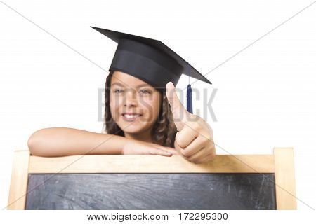 Girl Leaning On Blackboard