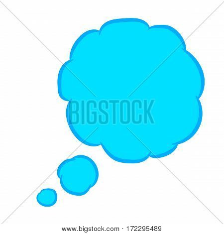 Cloud thought round blue with trim of vector illustration