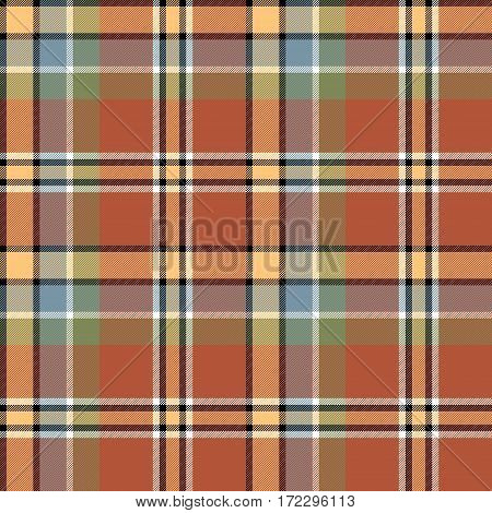 Brown beige colors check fabric texture seamless pattern. Vector illustration.