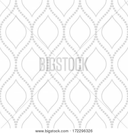 Seamless ornament. Modern geometric pattern with repeating light silver dotted wavy lines