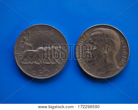 50 Cents Coin, Kingdom Of Italy Over Blue