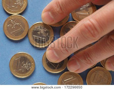 Euro Coins, European Union Over Blue