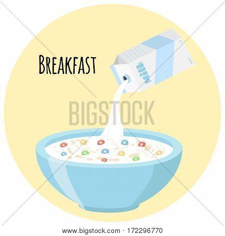 Cereal rings, milk in oatmeal breakfast. Organic muesli. Flat vector style.