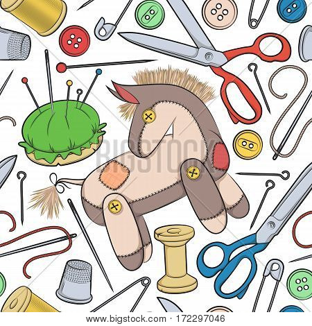Vector seamless pattern with sewing accessories and toy donkey.