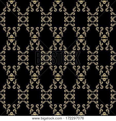 Damask classic pattern. Seamless abstract background with repeating elements. Black and golden pattern