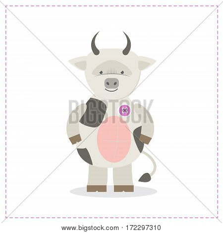 Cow cute plush toys. Funny zoo toy sewn button. Cartoon vector