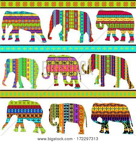Background with colorful ethnic motifs patterned elephants