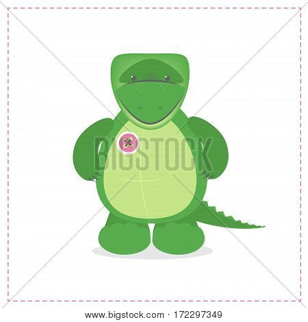 Crocodile cute plush toys. Funny zoo toy sewn button. Cartoon vector
