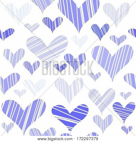 Hatched mauve hearts seamless on white background