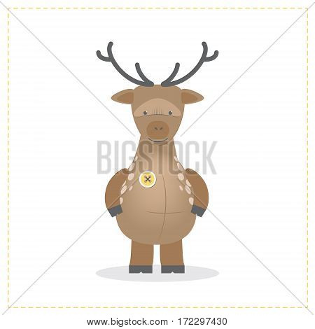 Deer cute plush toys. Funny zoo toy sewn button. Cartoon vector