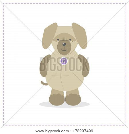 Cute plush toy dog puppy vector cartoon