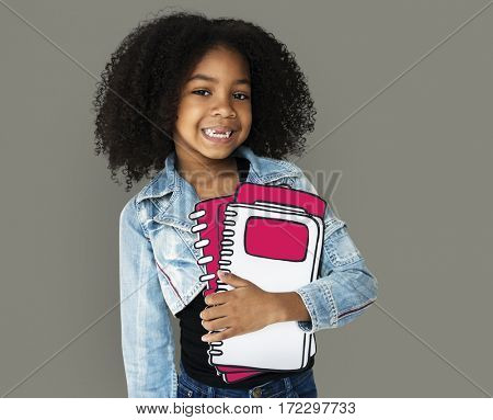 Little Girl Holding Books
