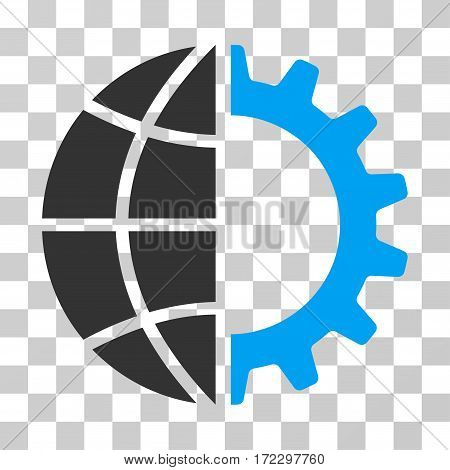 Global Industry vector pictogram. Illustration style is flat iconic bicolor blue and gray symbol on a transparent background.