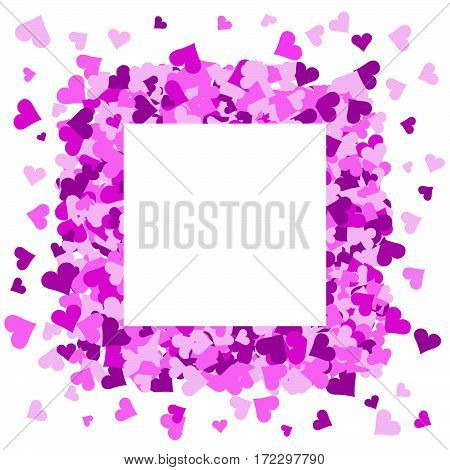Pink hearts frame with space for text