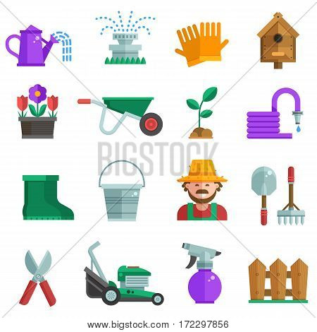 Spring gardening set with farm tools and equipment. Growing plants elements collection with gardener, grass-cutter, wheelbarrow and other lawn and garden icons. Springtime gardening objects in flat.