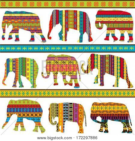 Seamless background with ethnic motifs patterned elephants