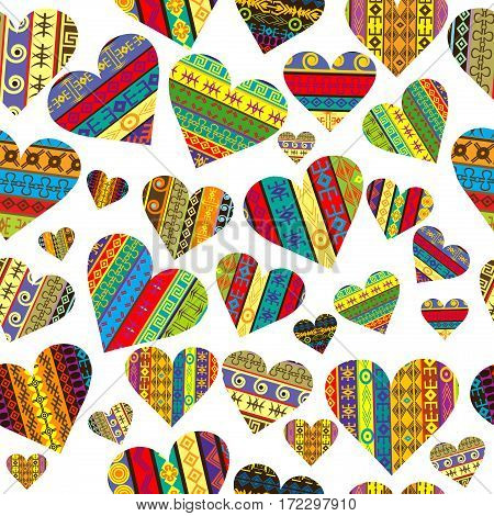 Patterned hearts with ethnic motifs seamless background