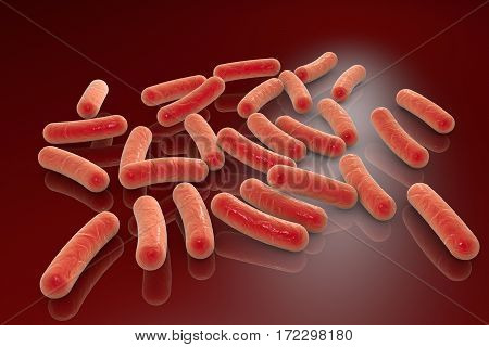 Bacterial infection. Rod-shaped bacteria on plane with shadows and reflections, 3D illustration
