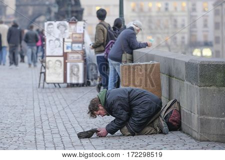Prague, Czechia - November, 22, 2016: beggar in Prague, Czechia