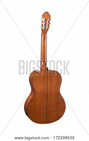 Acoustic guitar isolated on a white background. Back view