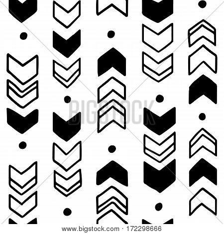 Seamless hand drawn geometric tribal pattern. Vector navajo design illustration.