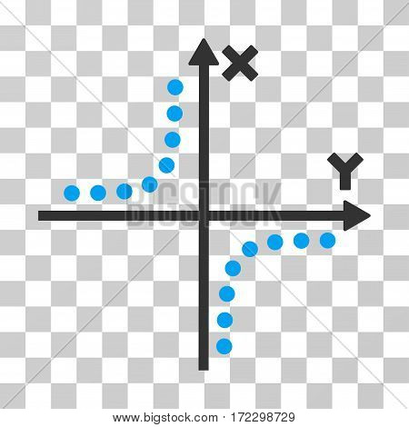 Hyperbola Plot vector icon. Illustration style is flat iconic bicolor blue and gray symbol on a transparent background.