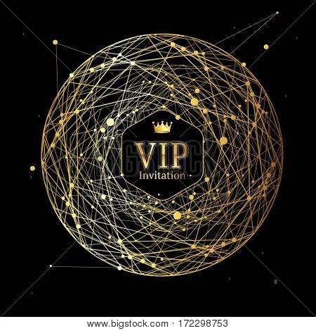 Golden Vip Round Sphere Dotted Connect Mesh Background Can Be Used for Card and Invitation. Vector illustration