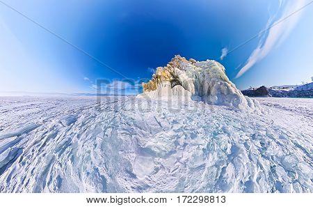 Shaman Cape On Olkhon Island, Baikal, Fish-eye Aerial