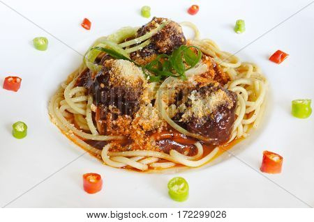 Spaghetti Bolognese Meatballs With Sauce