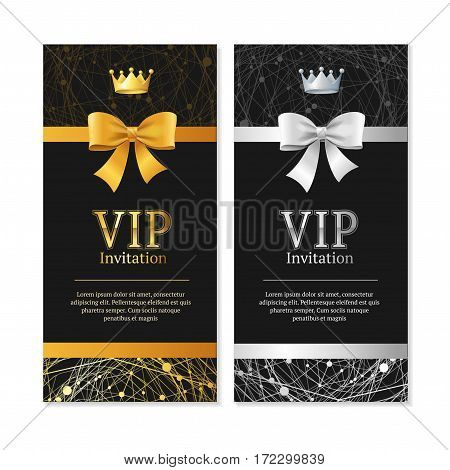 Vip Invitation and Card Vertical Set Shiny Expensive Decoration Design. Vector illustration
