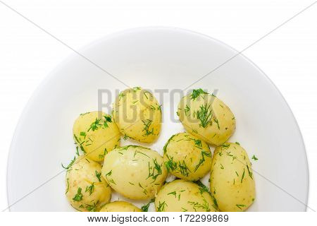 Fragment of a white dish with whole boiled young potatoes of early ripening sprinkle with the chopped dill on a light background