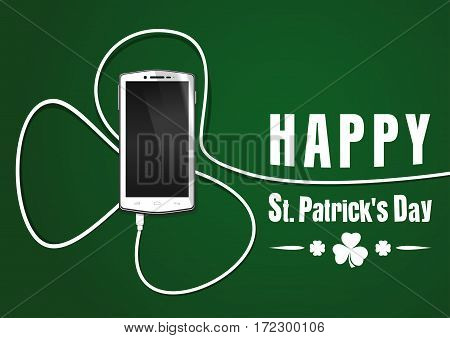 Realistic smartphone, cellphone, mobile phone. Phone wire bent in the shape of a clover. Smartphone isolated on a green background. Happy St. Patrick's Day. Vector greeting card
