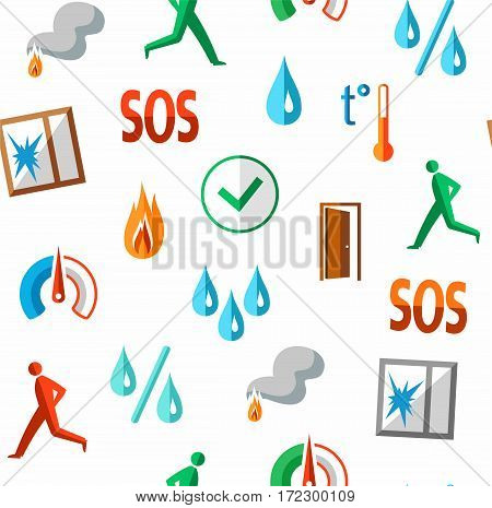 Alarm, background, seamless, fire detectors, humidity, motion, temperature, colour, white. Vector flat background with pictures of alarm for alarm sensors. Colored icons on a white field.