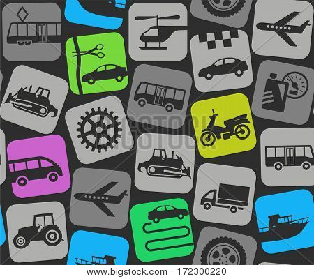 Personal vehicles, colored background, seamless. Colored flat icons of car, motorcycle, boat and truck on a dark gray background. Vector background.