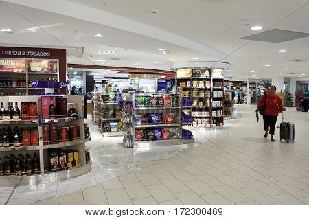 NADI FIJI - FEB 10 2017:Nadi International Airport duty-free section.It handles about 97% of international visitors to Fiji of which are 85% tourists.