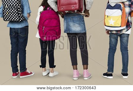 Group of children with backpack