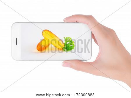 Woman using her smart phone searching Multi vitamin information group of pills with herb in health care and medicine concept Isolated on white background.